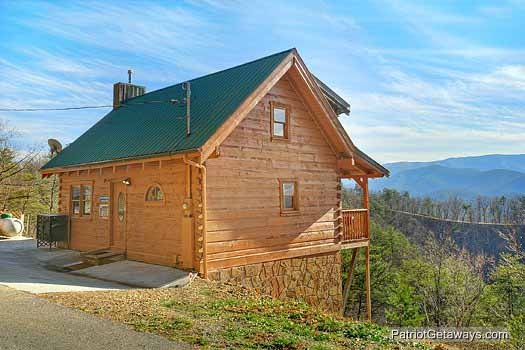 rear exterior view at sunset vista view a 1 bedroom cabin rental located in pigeon forge