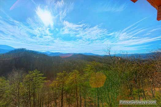 View from deck at Sunset Vista View, a 1 bedroom cabin rental located in Pigeon Forge