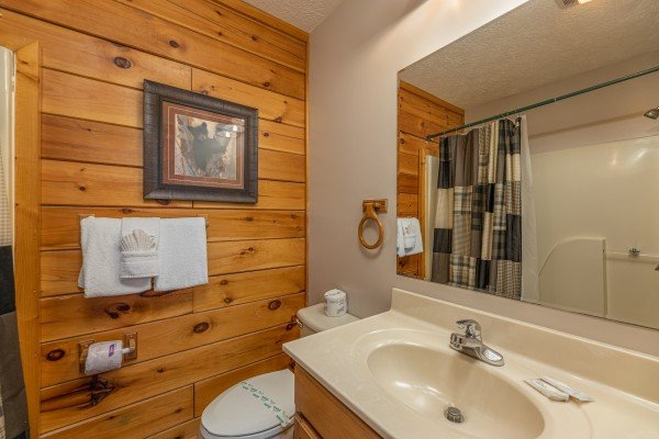 Bathroom with a tub and shower at Pool Side Lodge, a 6 bedroom cabin rental located in Pigeon Forge