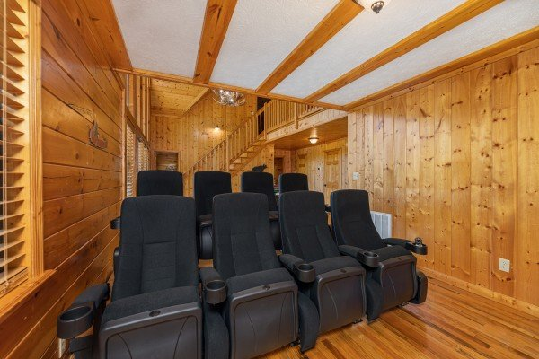 Theater room seating at Pool Side Lodge, a 6 bedroom cabin rental located in Pigeon Forge