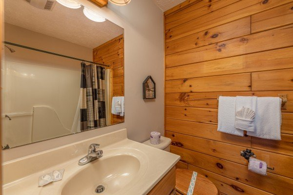Bathroom with tub and shower at Pool Side Lodge, a 6 bedroom cabin rental located in Pigeon Forge