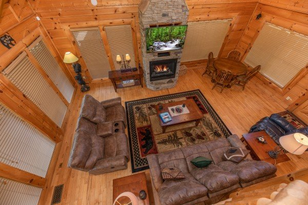 Aerial view of the living room at Bear Bottom Retreat, a 4 bedroom cabin rental located in Pigeon Forge