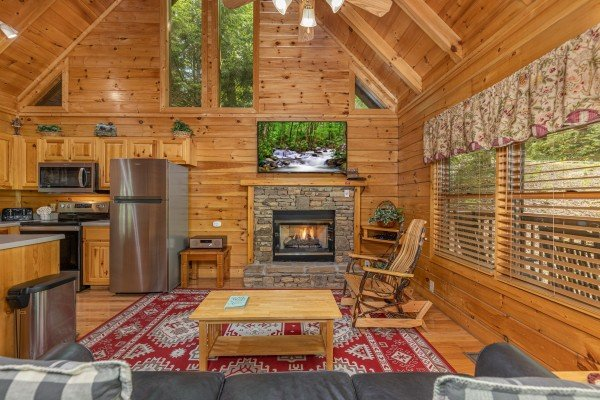 Living room with fireplace and TV at Location Location Location, a 1 bedroom cabin rental located in Pigeon Forge