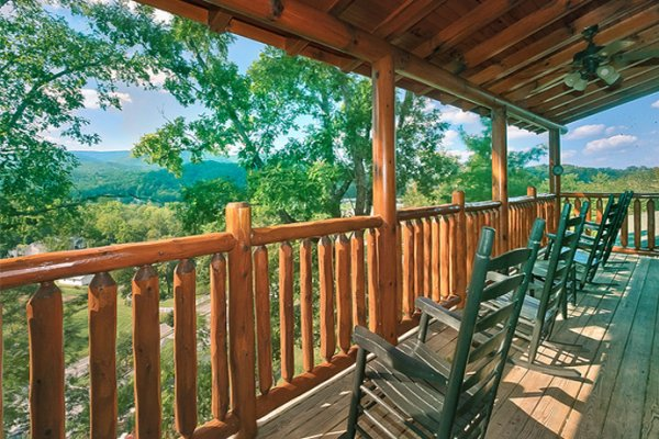 Panoramic mountain view from the porch at Bearfoot Lodge, a 5-bedroom cabin rental located in Pigeon Forge