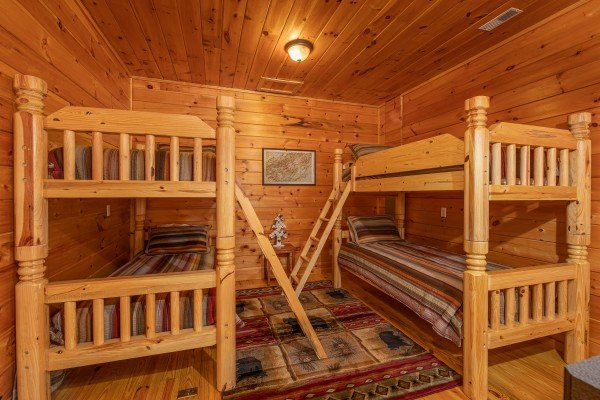 Bunk beds at All Hours, a 2 bedroom cabin rental located in Pigeon Forge