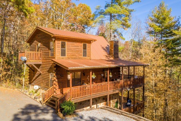 Cabin exterior at All Hours, a 2 bedroom cabin rental located in Pigeon Forge