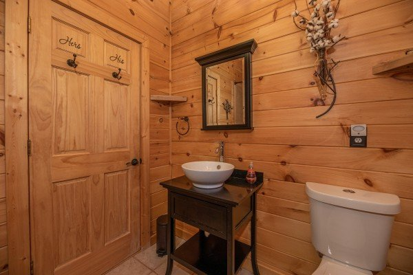 Bathroom in the loft space at All Hours, a 2 bedroom cabin rental located in Pigeon Forge