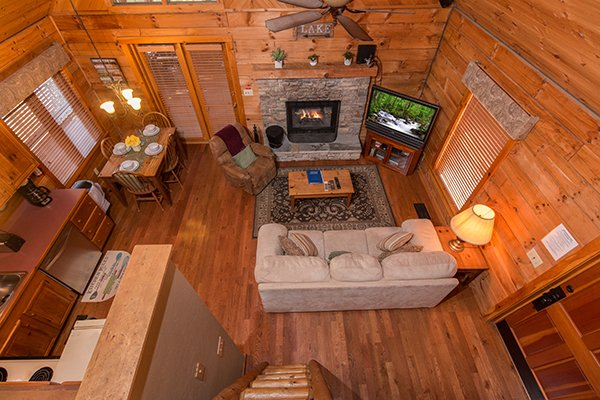Overhead view of the main floor from the loft at Golden Memories, a 1-bedroom cabin rental located in Pigeon Forge