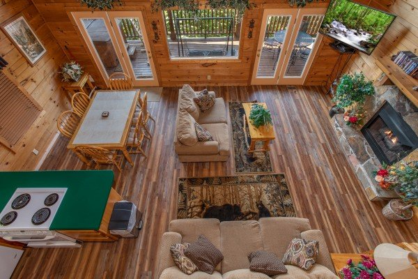 overhead living room view at angel's majestic view a 3 bedroom cabin rental located in pigeon forge