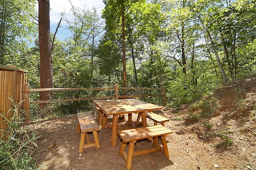 picnic area at mickey's playhouse a 2 bedroom cabin rental located in pigeon forge