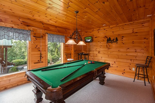 Pool table at A Beautiful Memory, a 4 bedroom cabin rental located in Pigeon Forge