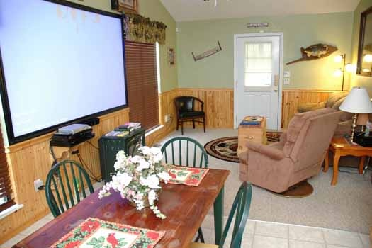 dining area at i love view a 2 bedroom cabin rental located in pigeon forge