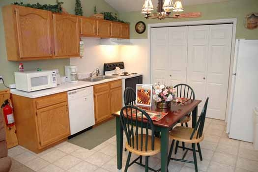kitchen at i love view a 2 bedroom cabin rental located in pigeon forge