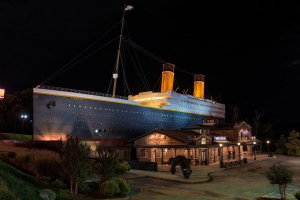 Titanic Museum at night near Pool'n Around in the Smokies, a 4 bedroom cabin rental located in Sevierville