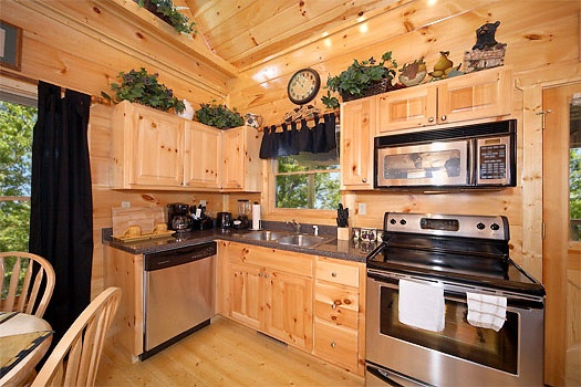 stainless appliances in the kitchen at honey bear haven a 1 bedroom cabin rental located in pigeon forge