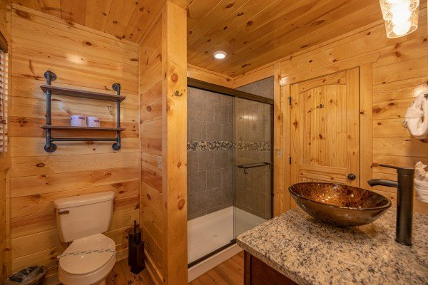 Bathroom with a shower at Pinot Splash, a 4 bedroom cabin rental located in Gatlinburg