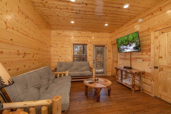 Two futons and a TV in the lower living room at Pinot Splash, a 4 bedroom cabin rental located in Gatlinburg