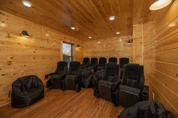 Home theater at Pinot Splash, a 4 bedroom cabin rental located in Gatlinburg