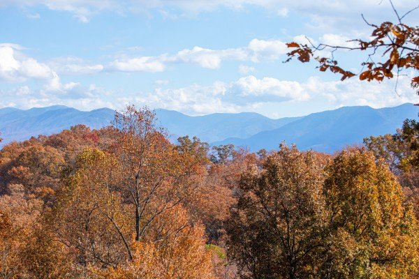 Mountain view at Pinot Splash, a 4 bedroom cabin rental located in Gatlinburg