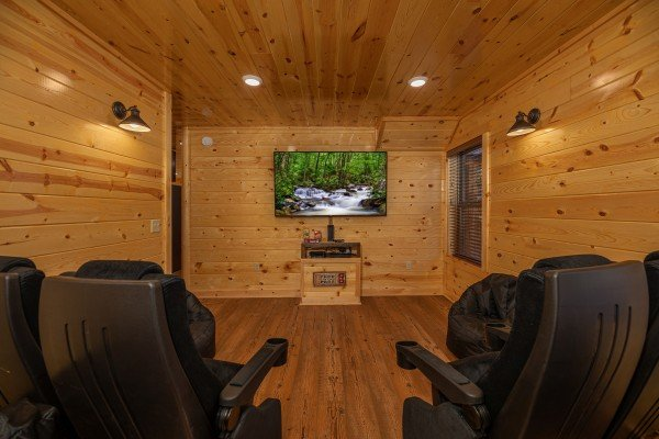 Media room at Pinot Splash, a 4 bedroom cabin rental located in Gatlinburg