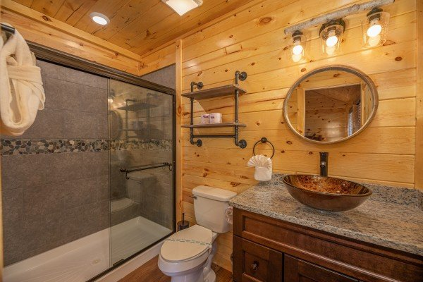 Bathroom with a large shower at Pinot Splash, a 4 bedroom cabin rental located in Gatlinburg