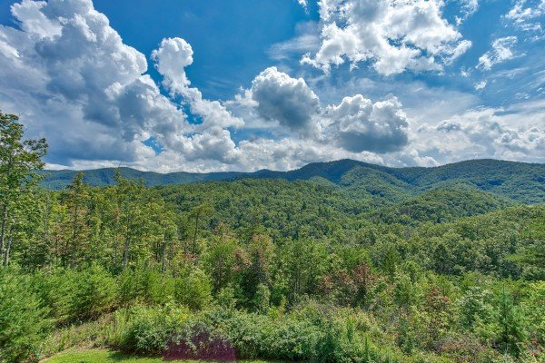 Mountain views seen at Four Seasons Lodge, a 3-bedroom cabin rental located in Pigeon Forge