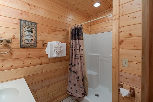 Lower level bathroom with a walk in shower at Family Ties Lodge, a 4-bedroom cabin rental located in Pigeon Forge