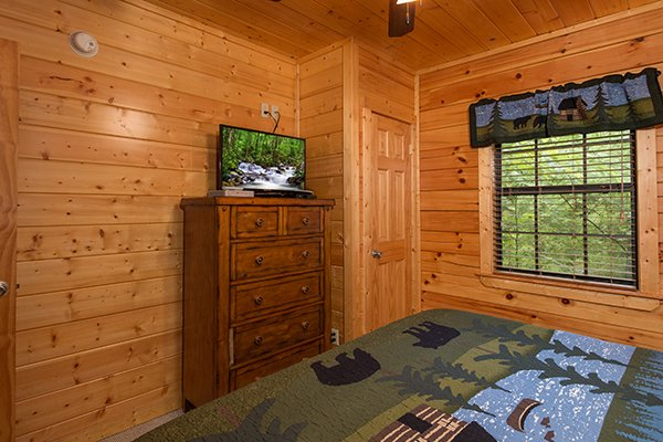 TV and dresser in a bedroom on the lower level at Family Ties Lodge, a 4-bedroom cabin rental located in Pigeon Forge