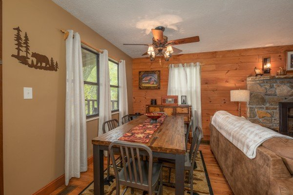 Dining table for six at Misty Mountain Sunrise, a 3 bedroom cabin rental located in Pigeon Forge
