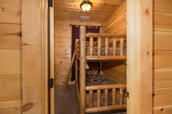 Bunk room at Smokies Paradise Lodge, a 5 bedroom cabin rental located in Pigeon Forge