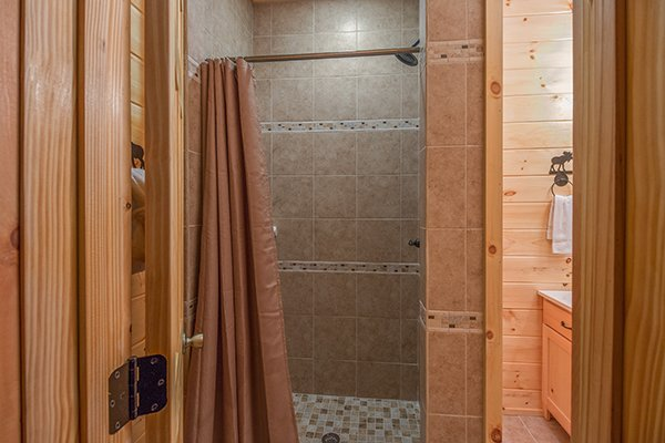 Walk in shower at Smokies Paradise Lodge, a 5 bedroom cabin rental located in Pigeon Forge
