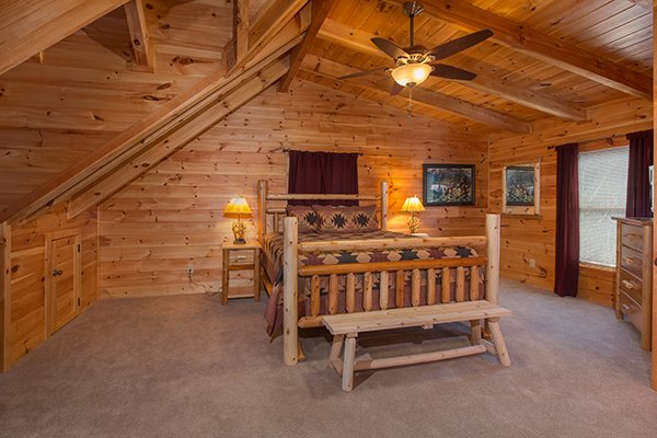 Loft bedroom at Smokies Paradise Lodge, a 5 bedroom cabin rental located in Pigeon Forge
