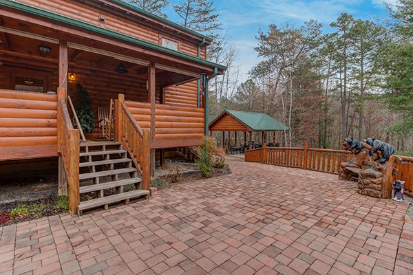 Patio entry at Smokies Paradise Lodge, a 5 bedroom cabin rental located in Pigeon Forge