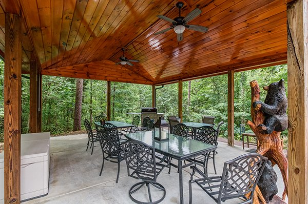 Dining pavilion on property at Smokies Paradise Lodge, a 5 bedroom cabin rental located in Pigeon Forge