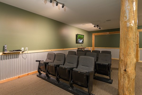 Theater seating at Smokies Paradise Lodge, a 5 bedroom cabin rental located in Pigeon Forge