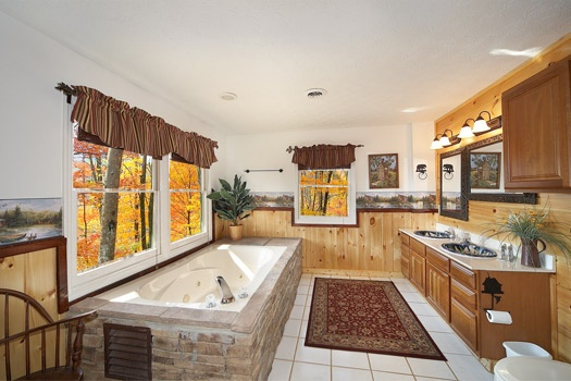 attached bath with jacuzzi tub at perfection! a 3 bedroom cabin rental located in gatlinburg