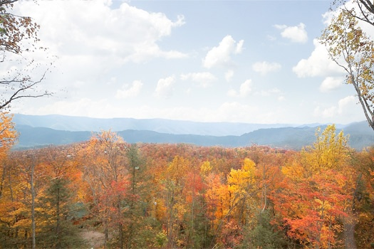 autumn view of smoky mountains at perfection! a 3 bedroom cabin rental located in gatlinburg