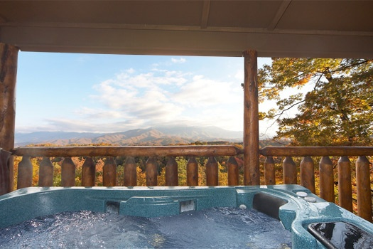 covered hot tub at perfection! a 3 bedroom cabin rental located in gatlinburg