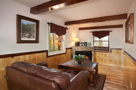 den with fireplace at perfection! a 3 bedroom cabin rental located in gatlinburg