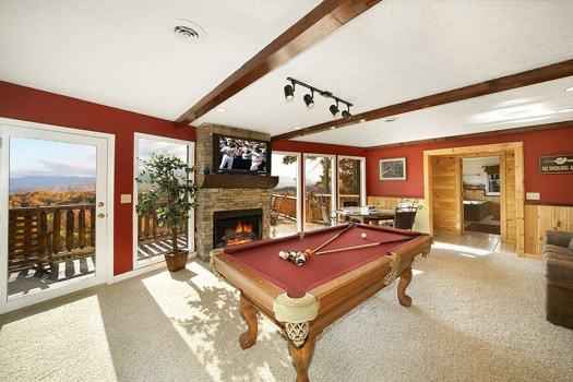first floor game room with pool table at perfection! a 3 bedroom cabin rental located in gatlinburg