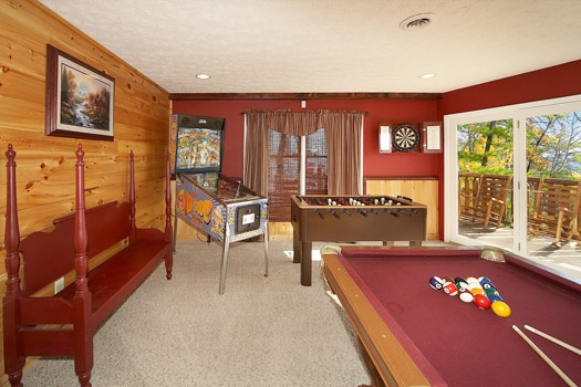 game room with foosball at perfection! a 3 bedroom cabin rental located in gatlinburg