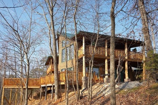 rear exterior view at perfection! a 3 bedroom cabin rental located in gatlinburg