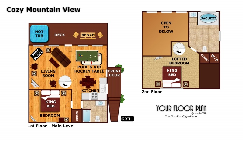 Cozy mountain view a pigeon forge cabin rental for Mountain view floor plans