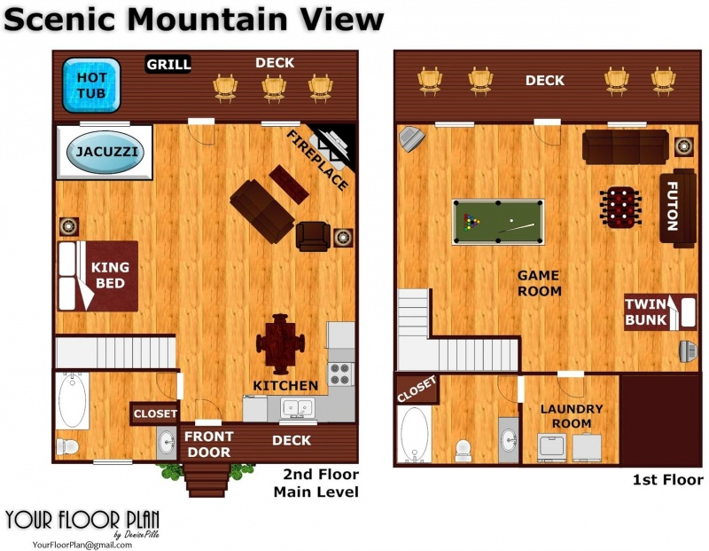 Scenic mountain view a pigeon forge cabin rental for Mountain view floor plans