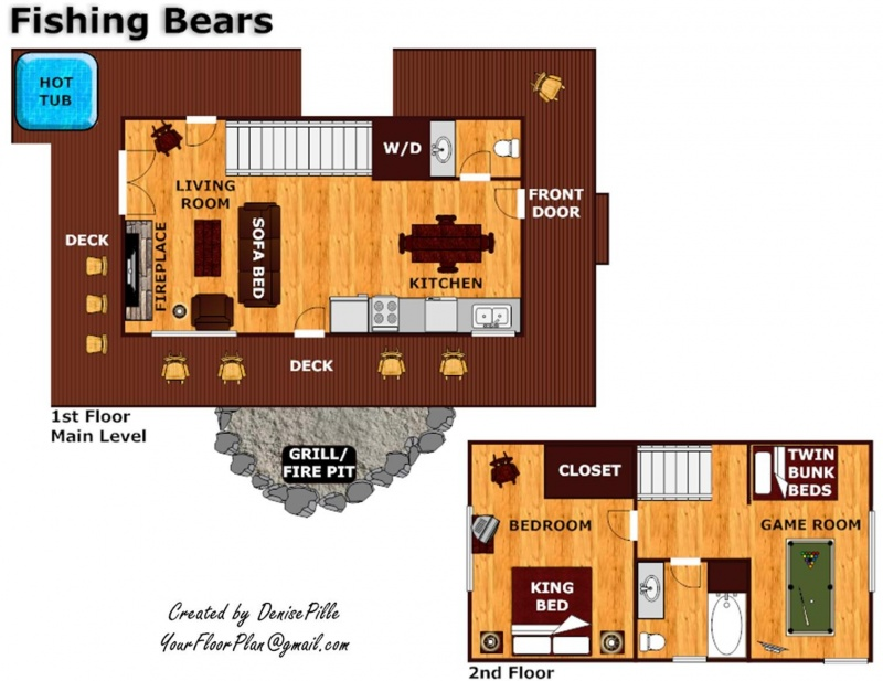 Fishing bears a gatlinburg cabin rental for Fishing cabin floor plans