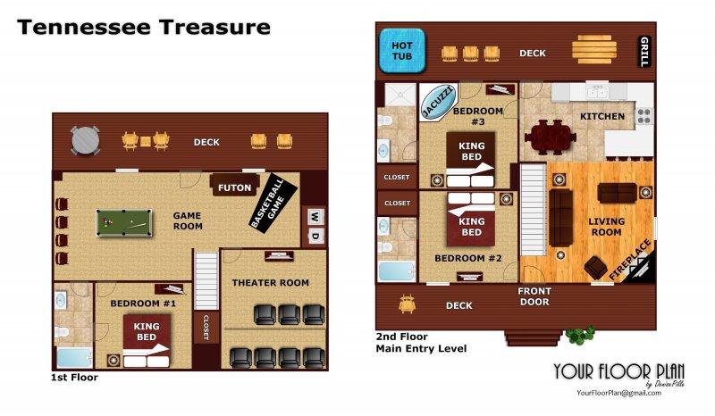 view image gallery  u203a view floorplan  u203a     tennessee treasure   a pigeon forge cabin rental  rh   patriotgetaways