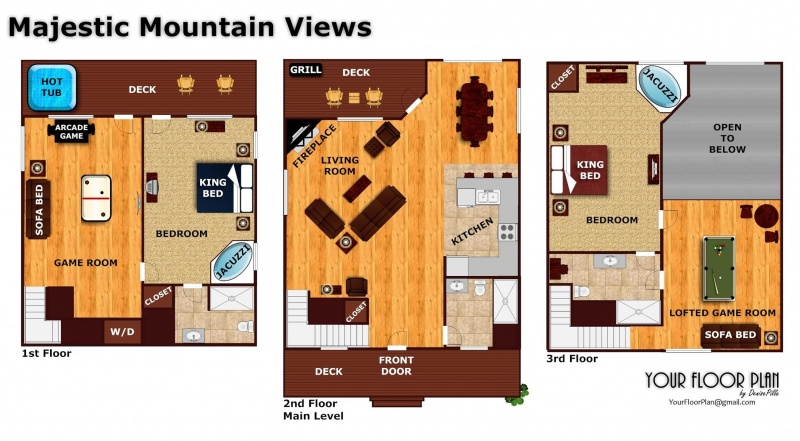 Majestic mountain view a pigeon forge cabin rental for Mountain view floor plans