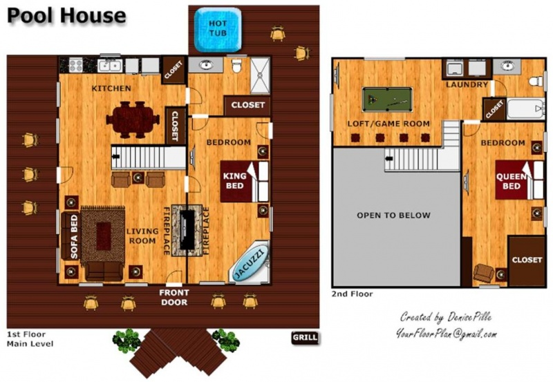 floor plan pool house - house plans